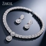 ZAKOL CZ Zirconia Necklace Earrings Set Nigerian <b>Wedding</b> African Costume Big Women <b>Jewelry</b> Set With Clear Crystal Stone FSSP232