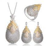 Dazz Copper White Cubic Zircon Jewelry Sets Gold <b>Silver</b> Two Tone Exquisite Wedding Bridal Jewelry Pendant <b>Necklace</b> Brincos