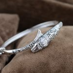 Pure 925 Silver Fish Bangle Punk Vintage 100% S925 Thai Sterling Silver 5.7cm MARCASITE Bangles for Women Men <b>Jewelry</b>