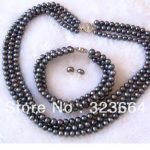 Hot Sell ! Charming 3 Rows 7-8mm natural Black Pearl sets