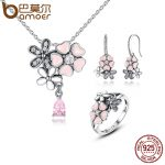 BAMOER 100% 925 Sterling Silver Pink Flower Poetic Daisy Cherry Blossom Bridal <b>Jewelry</b> Sets Wedding Engagement <b>Jewelry</b> ZHS028