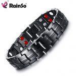 Rainso Double Row Punk Health Magnetic Bracelet Men's <b>Jewelry</b> Titanium Hand Bracelets Bijoux Black Plated Men Hand Bracelet