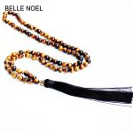 2018 Dropshipping High Quality Tiger Eye Natural Stone Beads Necklace with Gold Buddha Charm Brown Tassel Pendant Men <b>Jewelry</b>