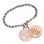 Engraved Family Tree <b>Bracelet</b> Rose Gold Color Disc Name <b>Bracelet</b> Tree of Life Jewelry Mother's Day Gift