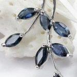 natural dark blue sapphire gem pendant S925 <b>silver</b> Natural gemstone Pendant Necklace trendy Elegant leaves women party <b>jewelry</b>