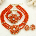 2018 New Gift~Beads Choker Classic Orange Red Blue Roses Nigerian African Beads <b>Jewelry</b> Set Wedding Party Queen <b>Jewelry</b> Sets