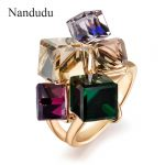 Nandudu AAA Colorful Zirconia Ring <b>Fashion</b> <b>Jewelry</b> Rose Gold Color Austrian Square Crystal Rings for Women Gift R540
