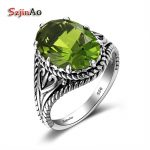 Szjinao Big Promotion 100% 925 Sterling Silver Rings <b>Handmade</b> Gothic <b>Jewelry</b> Luxury Peridot Wedding Rings For Women Wholesale