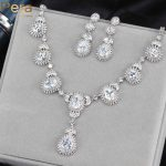 Pera Sparkling <b>Silver</b> Color Long Pear Cut Cubic Zirconia Stone Noble Bridal Wedding Party Costume Jewelry Set For Brides J153