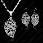Giemi Promotion 925 Sterling Silver <b>Jewelry</b> Sets For Women leaves Earring Hook And Leaf Pendant Necklace 18″ Singapore Chain