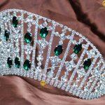 Brides Contoured Wedding Pageant Tiara Simulated Emerald Crystal Hair Crown Women Headband Fashion <b>Jewelry</b> Bridal Party Prom