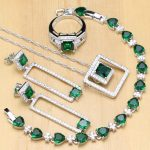 Luxury 925 <b>Silver</b> Jewelry Green Zircon White Crystal Jewelry Sets Women Anniversary Earrings/Pendant/Necklace/Rings/<b>Bracelet</b>