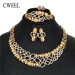 CWEEL <b>Jewelry</b> Sets Women Fashion African Beads <b>Jewelry</b> Set in Gold Color Party Jewerly Sets Imitation Crystal Costume <b>Jewelry</b>