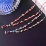 Luxury clover water Natural Multicolor tourmaline Necklace Natural gemstone Pendant Necklace S925 sliver women party <b>Jewelry</b>