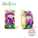 SANTUZZA <b>Silver</b> Earrings For Women 925 Sterling <b>Silver</b> Stud Flower Earrings with Stones Cubic Zirconia brincos <b>Jewelry</b> enamel