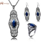 Sale Turkish Vintage Jewelry Sets Pendant & <b>Earrings</b> Ring Blue Rhinestone Crystal 925 <b>Silver</b> Wedding Gift for Love Bijoux uk