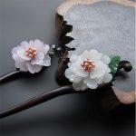 <b>Handmade</b> Ebony Hair Stick Fresh Water Pearl Azure Stone Flower Sticks Chinese <b>Jewelry</b> Vintage Hair Pin Hair Accessories WIGO0788