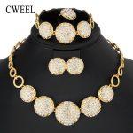 CWEEL India Women <b>Jewelry</b> Sets Round Nigerian African Beads <b>Jewelry</b> Set Gold Color Imitation Crystal Party Dubai Jewellery Set
