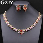 GZJY Luxury Wedding Gold Color <b>Jewelry</b> Flower Multi-Color Cubic Zircon Big Statement <b>Necklaces</b> Earring Sets For Women
