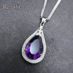 Rosalie, Natural 5.2ct african deep color Amethyst Pendants Genuine Solid 925 Sterling <b>Silver</b> Fashion Purple Jewelry for women