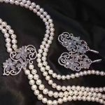 long natural fresh water pearl necklace and flower chalcedony drop <b>earring</b> jewelry set multi layers fashion women jewelry