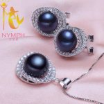 NYMPH Pearl <b>Jewelry</b> Sets For Women 925 <b>Sterling</b> <b>Silver</b> <b>Jewelry</b> Big Fresh Water Pearl Necklace Pendant Earrings For Women tc1024