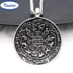 Symbolize Born 12 Zodiac Sign <b>Antique</b> Silver Pendant Necklace Twelve Animals Wealthy Lucky <b>Jewelry</b> Stainless Steel Chain