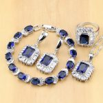 Square Blue Cubic Zirconia Jewelry White Crystal 925 Sterling <b>Silver</b> Jewelry Sets Women Earrings/Pendant/Necklace/Ring/<b>Bracelet</b>
