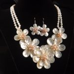 ww7940 Mother of Pearl MOP shell flower pendant earrings <b>necklace</b> set 20″ AAA style Fine Noble real Natural free shipping