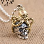 V.YA Unique Brass Octopus + 925 Sterling <b>Silver</b> Pendants fit <b>Necklaces</b> for Men Women Cool Skull Jewelry