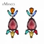 eManco Luxury Mixed Color Big Drop Dangle Crystal Earrings for Women 2017 Happiness New Fashion Earring <b>Jewelry</b> <b>Accessories</b>