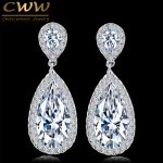 CWWZircons Classic Silver Color White Cubic Zirconia Crystal Long Tear Drop Dangle Earrings For Women Party <b>Jewelry</b> Gift CZ058