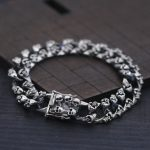 S925 Sterling <b>Silver</b> <b>Bracelet</b> Bangle Punk Biker 12mm Curb Flat Chain Wide Weird Skull Thai <b>Silver</b> <b>Bracelet</b> Personality