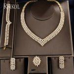 RAKOL Luxury Gold-color Leaf Bridal CZ necklace earring bracelet ring 4pcs Big <b>Wedding</b> <b>Jewelry</b> Sets For Elegant Bride