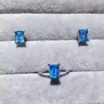 Natural blue topaz gem jewelry sets natural gemstone ring <b>Earrings</b> 925 <b>silver</b> Stylish Elegant simple square women party jewelry