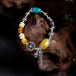 JIUDUO Pure natural amber <b>bracelet</b> full of honey chicken yellow old wax bead beads multi-turn DIY hand string female models