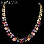 EMMAYA Stunning Big Carat Round CZ Crystal Necklace Luxury Bridal Party <b>Jewelry</b> For <b>Wedding</b> Evening
