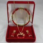 Women's Wedding latest match designed lady's 7.5″ red gem bracelet, earings and dragon pendant <b>jewelry</b> sets for va