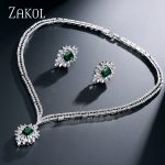 ZAKOL Luxury Green Zircon Flower Bridal Wedding <b>Jewelry</b> Sets For Elegant Brides CZ Zirconia Earrings Factory price FSSP213