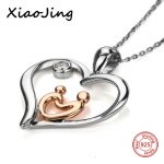 New arrival 925 sterling silver love heart shape Mom and kid pendant chain necklace diy fashion <b>jewelry</b> <b>making</b> for women gifts