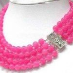 (Mini Order 1) Charming!4Rows 8MM Pink Chalcedony Necklace Beads Fashion <b>Jewelry</b> <b>Making</b> Design Rope Chain Necklace Natural Stone