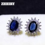 ZHHIRY Sapphire Earring Real 925 <b>Sterling</b> <b>Silver</b> Natural Gemstone Women Earrings <b>Jewelry</b> Stone New style January Birthstone