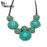 WEIXY Boho Maxi Statement Necklace Green Natural Stone Beads Flower Shape Rope Braided Chain Bohemian Ethnic <b>Handmade</b> <b>Jewelry</b>
