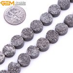 10mm 8inches Dyed From Raw Amethysts Metallic Titanium Coated Loose Coin Shape Crude Beads For <b>Jewelry</b> <b>Making</b> Beads DIY Beads