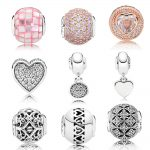 Rose Gold Love & Compassion Cubic Zirconia Beads Fit Pan Essence COLLECTION <b>Bracelet</b> 925 Sterling <b>Silver</b> Charm Jewelry W/Logo