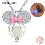 New design 925 silver lovely butterfly glowing charms pendant necklace chain with CZ&pink enamel diy fashion <b>jewelry</b> <b>making</b> gift