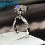 Vecalon Heart Flower 925 Sterling Silver ring 5A Zircon Cz Crystal Engagement <b>wedding</b> Band rings for women Bridal <b>Jewelry</b> Gift