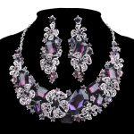 <b>Fashion</b> Bridal <b>Jewelry</b> Sets purple Rhinestone wedding Party decoration crystal Necklace Earrings for women girl Flower <b>Jewelry</b>