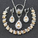 <b>Silver</b> Color 925 Stamp Orange Yellow Morganite Jewelry Set For Women <b>Bracelet</b> Necklace Earrings Ring pendant B24
