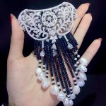 hyperbole Victoria natural fresh water pearl brooch and <b>jewelry</b> lock double use long tassels dark blue color 925 <b>silver</b>